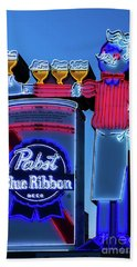 Pabst Blue Ribbon Neon Sign Fremont Street Beach Towel by Aloha Art