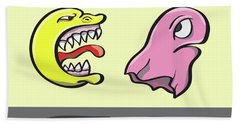 Pac Man And Ghost Illustration Beach Towel