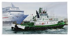 Beach Sheet featuring the painting Pacific Escort Cruise Ship Assist by James Williamson