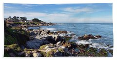 Pacific Grove Shoreline Beach Towel by Gina Savage