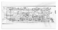 Pacific Locomotive Diagram Beach Towel