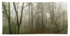 Pacific Northwest Foggy Morning Forest Scene Beach Towel