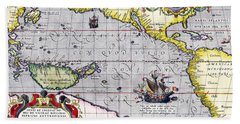 Pacific Ocean Vintage Map Beach Towel