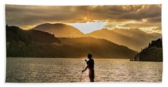Paddle Boarder In Summit Cove Beach Towel