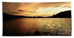 Beach Towel featuring the photograph Paddling At Sunset On Kekekabic Lake by Larry Ricker