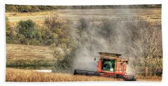 Page County Iowa Soybean Harvest Beach Towel