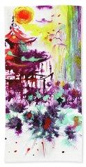 Beach Towel featuring the painting Pagoda by Zaira Dzhaubaeva