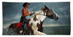 Paint Horse Running In The Water Beach Sheet
