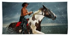 Paint Horse Running In The Water Beach Towel