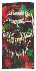 Paint Splash Skull Beach Towel