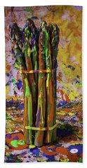 Painted Asparagus Beach Towel by Garry Gay