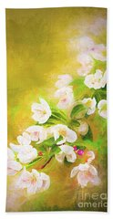 Painted Crabapple Blossoms In The Golden Evening Light Beach Sheet