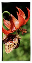 Painted Lady On Lily Beach Towel