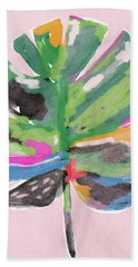 Beach Towel featuring the mixed media Painted Palm Leaf 2- Art By Linda Woods by Linda Woods