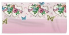 Painted Roses With Hearts Beach Towel