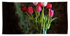 Painted Tulips Beach Towel by Joan Bertucci