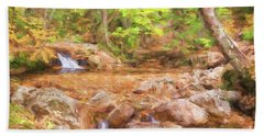 Painted Waterfall Foliage Beach Towel