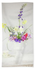 Painterly Homegrown Floral Bouquet Beach Sheet