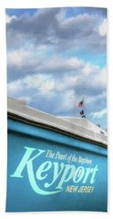 Beach Towel featuring the photograph Painterly Keyport Sailboat by Gary Slawsky