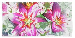 Beach Towel featuring the painting Painterly Pink Tiger Lilies by Annie Zeno