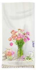 Painterly Ranunculus Tea Time Beach Towel