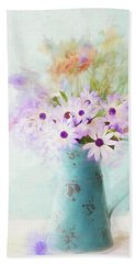 Painterly Spring Daisy Bouquet Beach Sheet