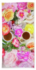 Painterly Tea Party With Fresh Garden Roses II Beach Towel