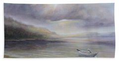 Beach Towel featuring the painting Beach By Sruce Run Lake In New Jersey At Sunrise With A Boat by Katalin Luczay