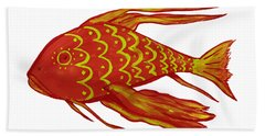 Painting Red Fish Beach Towel