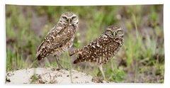 Pair Of Burrowing Owls Beach Sheet
