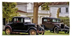 Beach Towel featuring the photograph Pair Of Ford Model A  by Susan Rissi Tregoning