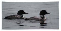 Pair Of Loons Beach Sheet by Steven Clipperton