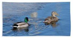 Pair Of Mallard Ducks Inthunder Bay Beach Sheet by Michael Peychich