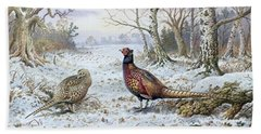 Pair Of Pheasants With A Wren Beach Sheet by Carl Donner