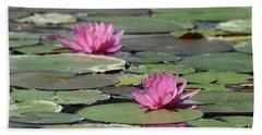 Pair Of Pink Pond Lilies Beach Towel