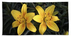 Pair Of Yellow Lilies Beach Towel