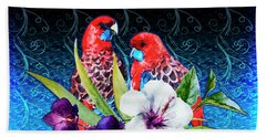 Paired Parrots Beach Sheet