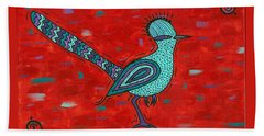 Beach Towel featuring the painting Paisano Petra - Roadrunner by Susie WEBER