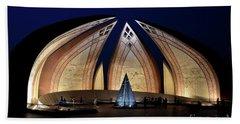 Pakistan Monument Illuminated At Night Islamabad Pakistan Beach Towel