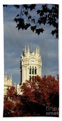 Palace Of Communication And Autumn Foliage Madrid Beach Towel