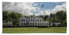 Palace Of President In Paramaribo Beach Sheet by Patricia Hofmeester