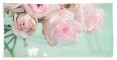 Pale Pink Roses Beach Towel