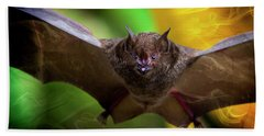 Beach Towel featuring the photograph Pale Spear-nosed Bat In The Amazon Jungle by Al Bourassa