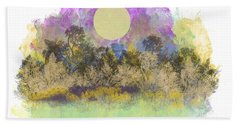 Beach Towel featuring the digital art Pale Yellow Moon by Jessica Wright