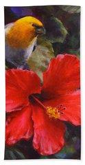 Palila And Hibiscus - Hawaiian Painting Beach Towel