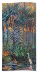 Palm And Egret Beach Sheet by Donald Maier