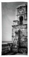 Palm Beach Clock Tower In Black And White Beach Towel