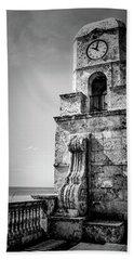 Palm Beach Clock Tower In Black And White Beach Sheet