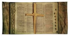 Beach Towel featuring the digital art Palm Branch Cross And Bible by Randy Steele