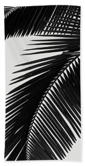 Palm Leaves Bw Beach Towel
